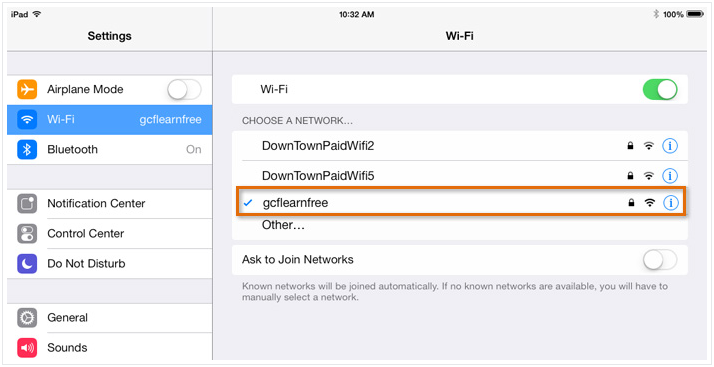 Подключение к wi-fi сети на iPad