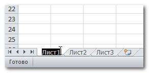 Переименование листа Excel