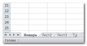 Переименованный лист Excel