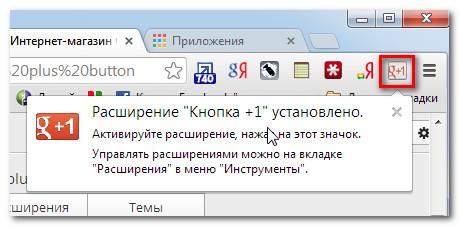 Установленное расширение Chrome