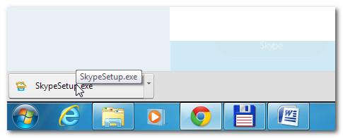 Запуск приложения установки Скайп