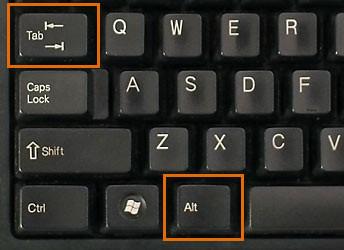 Горячие клавиши Alt+tab