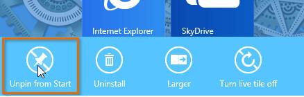 Открепление приложения Windows 8