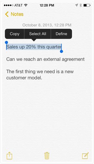 Выделение текста iPhone