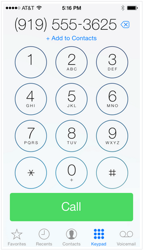 Набор номера iPhone