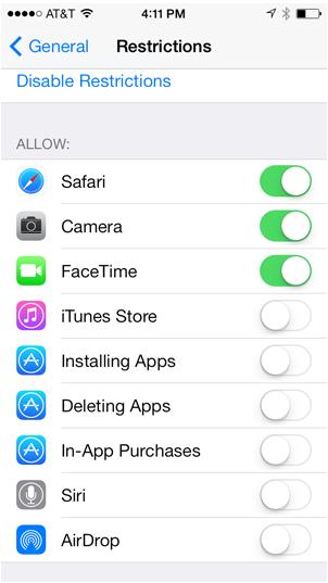 Ограничения iPhone