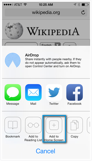Safari - добаление страницы на главный экран
