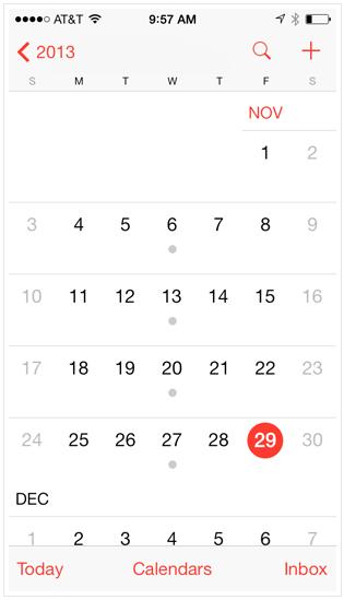 iPhone - приложение календарь