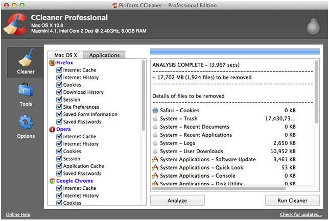 Ccleaner для Mac OS X