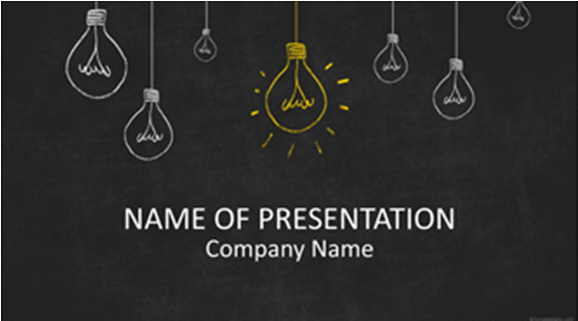 free powerpoint template Lightbulbs On Blackboard.