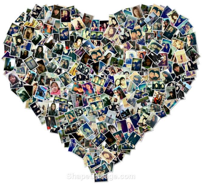 Коллаж из фотографий с помощью сердца
