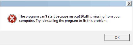msvcp110.dll missing