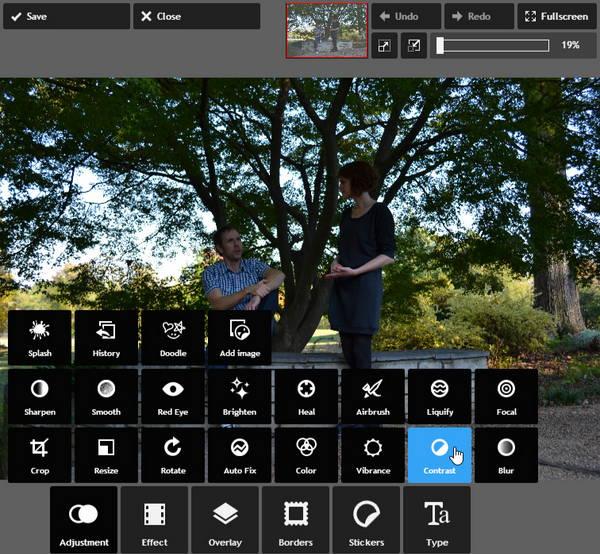 Изменение контрастности фотографии в Pixlr Express