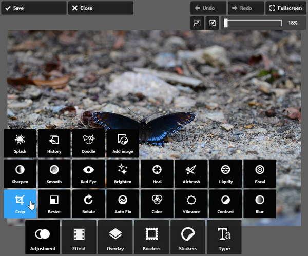 Обрезка фотографии в Pixlr Express