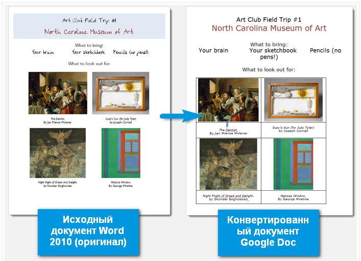 Конвертированный Word 2010 документ в Google Doc
