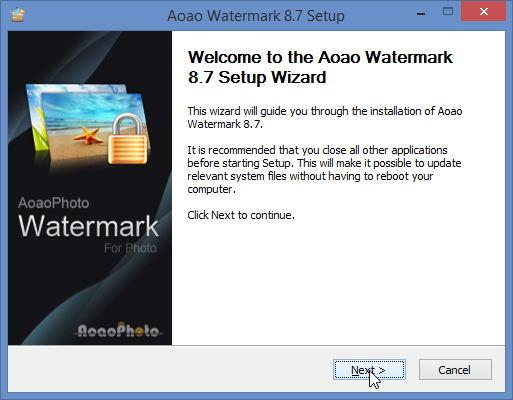 Установка программы Aoao Watermark