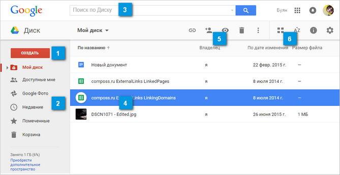 Интерфейс облака Google