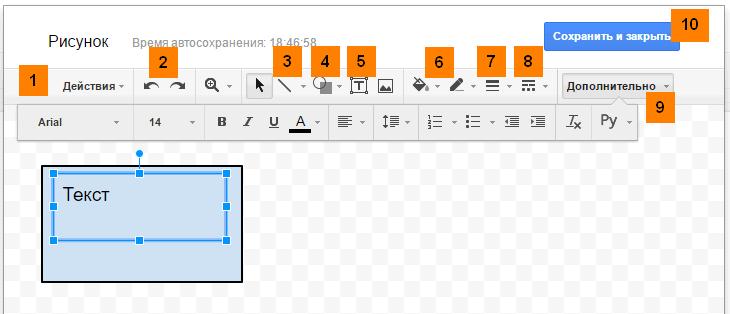 Инструмент Рисунок Google Документы
