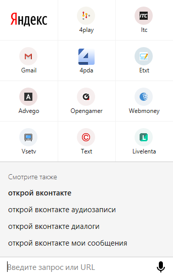 Часто посещаемые сайты пользователя