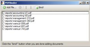Окно объединения файлов