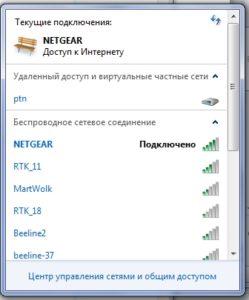 Доступные сети