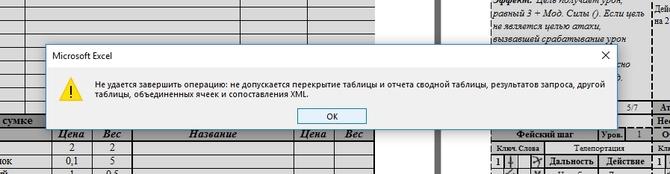 Ошибка таблицы