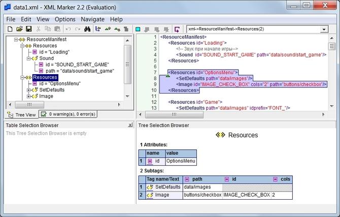 Редактор расширения XML