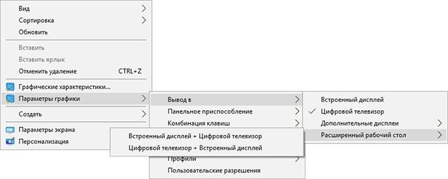 Настройки параметров отображения Intel