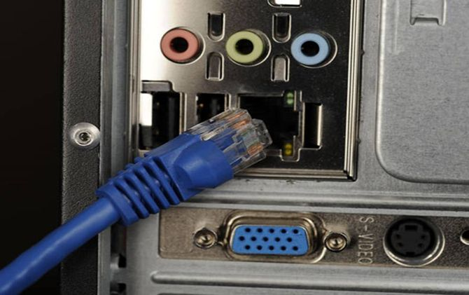 Подключаем LAN кабель
