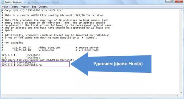 Заражение файла hosts