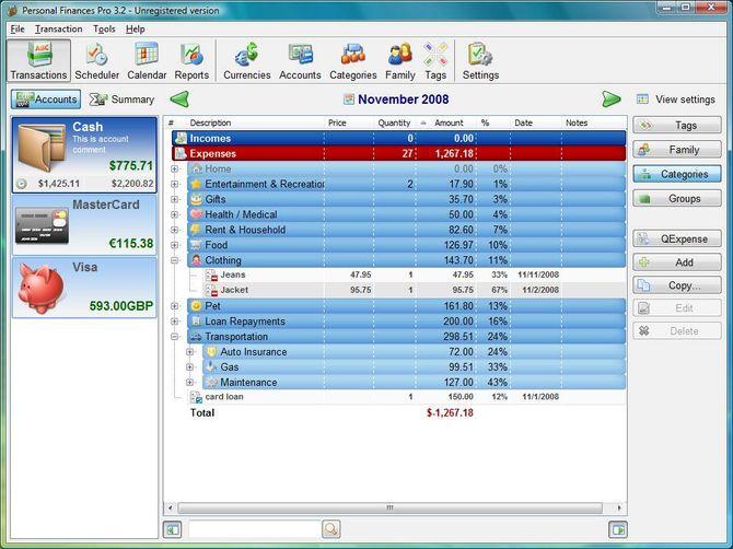 Программа Personal Finances
