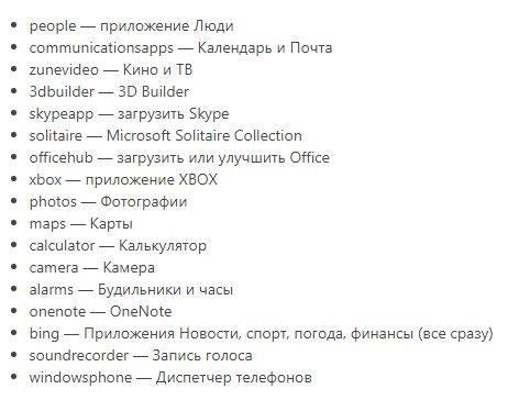 Список названий приложений