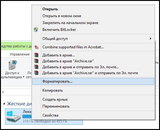 Процедура форматирования