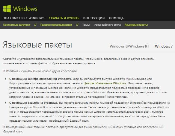 Языковый пакет для Windows 7