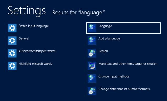 Поиск настроек языка