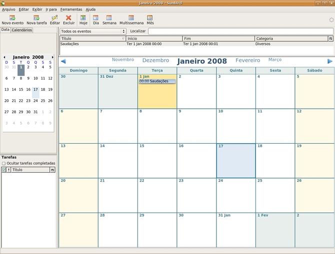 Календарь Mozilla Sunbird