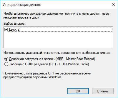 Инициализация диска