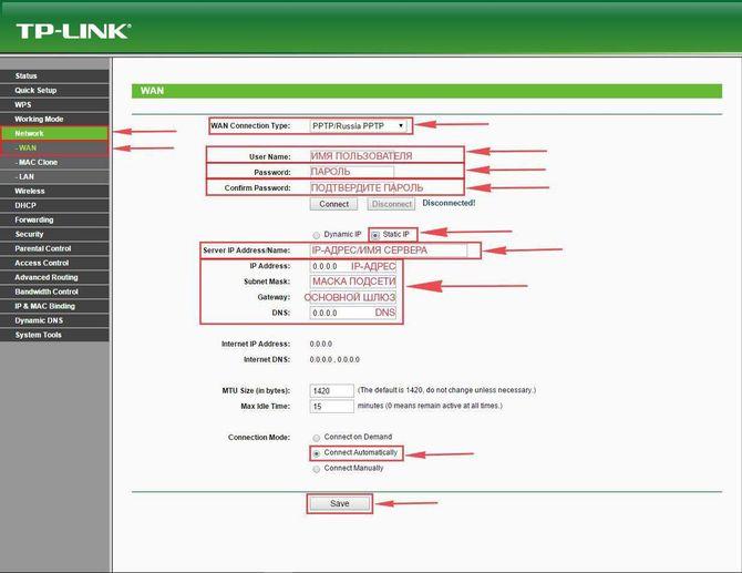 PPTP и статический адрес