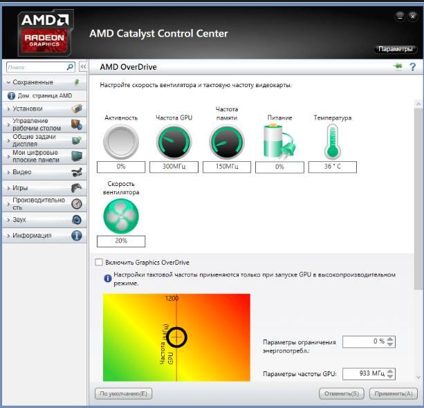 Настройки AMD OverDrive