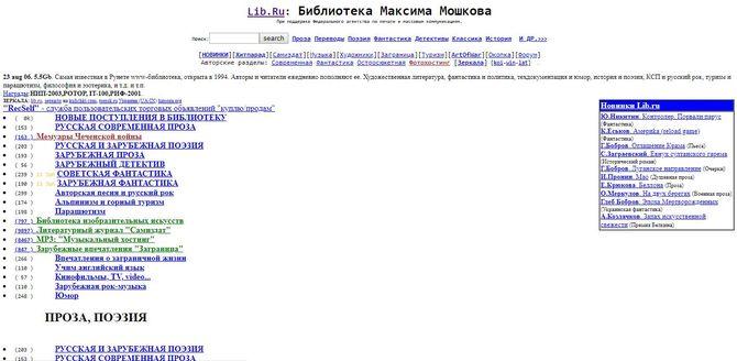Сайт Lib Ru