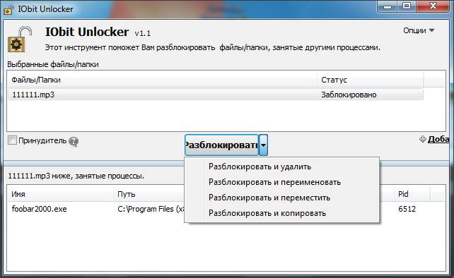 Программа IObit Unlocker