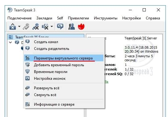Параметры виртуального сервера