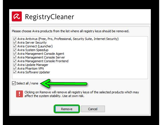 Avira RegistryCleaner