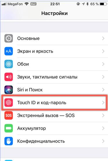 Touch ID и код