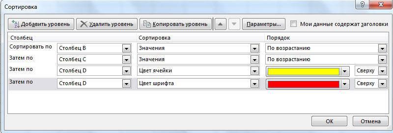 параметры сортировки