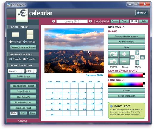 EZ Photo Calendar Creator