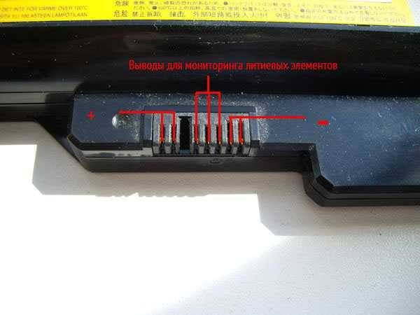 Контакты на батарее