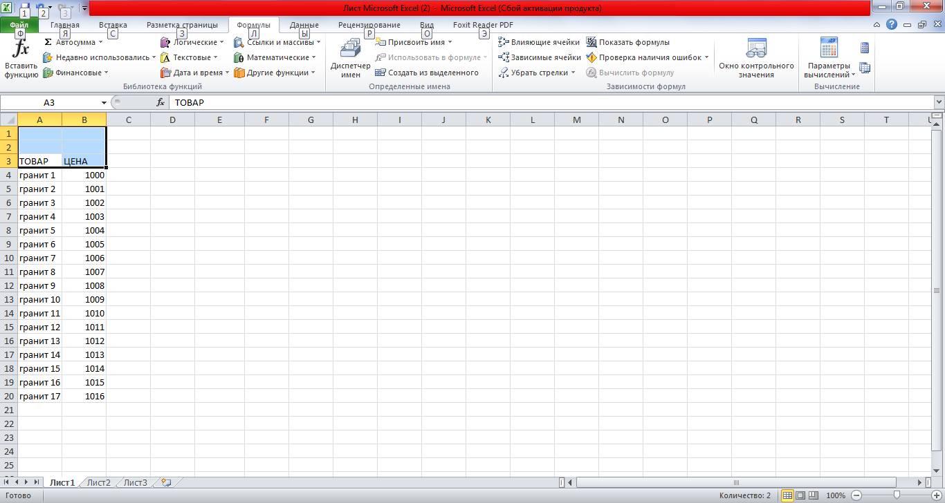 Составленная таблица
