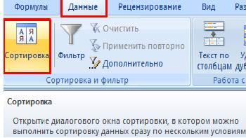 "Вкладка ""данные"""
