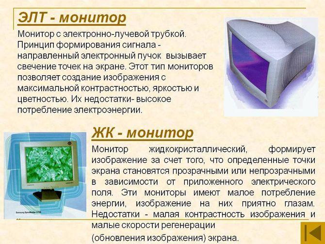 Различия мониторов